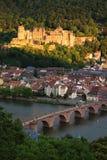 Portret van het Kasteel van Heidelberg bij Zonsondergang Stock Foto's