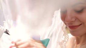 Portret van het kussen van de bruid en de bruidegom stock footage