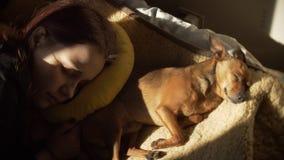 Portret van het leuke mooie meisje en haar van de slaaptiener weinig van een hond De zonnige lente dag 60 aan mooie dromerig van  stock footage