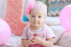 Portret van het meisje van de één éénjarigebaby stock foto