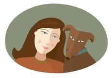 Portret van het meisje en de rode hond Stock Fotografie
