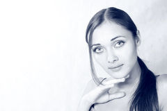 Portret van het meisje met de grote ogen stock fotografie