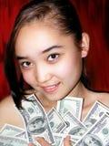 Portret van het meisje met dollar Stock Foto