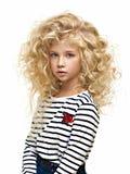 Portret van het mooie die kind op wit wordt geïsoleerd royalty-vrije stock foto