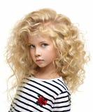 Portret van het mooie die kind op wit wordt geïsoleerd royalty-vrije stock afbeelding