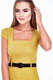 Portret van het mooie donkerbruine haar van de mannequinvrouw Royalty-vrije Stock Foto