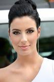 Portret van het mooie elegante vrouw glimlachen royalty-vrije stock fotografie
