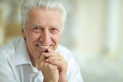 Portret van het mooie het glimlachen hogere mens stellen royalty-vrije stock foto's
