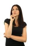 Portret van het mooie jonge vrouw denken Royalty-vrije Stock Fotografie