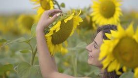 Portret van het mooie krullende meisje dansen met de grote zonnebloem en het lachen op het zonnebloemgebied Heldere gele kleur stock footage