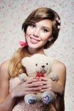Portret van het mooie meisje Stock Afbeeldingen