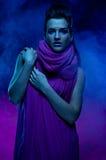 Portret van het mooie meisje in donkere tonen Stock Afbeelding