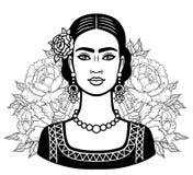 Portret van het mooie Mexicaanse meisje in oude kleren, een achtergrond - de gestileerde rozen stock illustratie