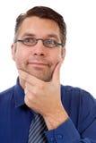 Portret van het nerdy geek denken Stock Afbeeldingen