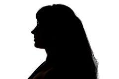 Portret van het silhouet van de curvy vrouw in profiel stock afbeelding
