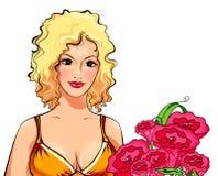 Portret van het verleidelijke blonde in geel met een bos van bloemen op wit, een illustratie Stock Foto