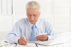 Portret van het zekere hogere zakenman werken in het bureau royalty-vrije stock fotografie