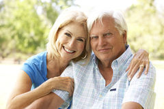 Portret van Hoger Paar in Park Stock Afbeelding