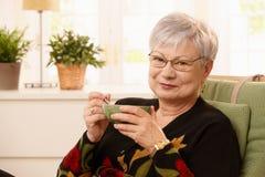 Portret van hogere dame het drinken thee Stock Afbeelding