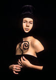 Portret van hogere kringen middeleeuwse dame stock afbeeldingen