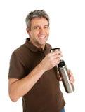 Portret van hogere mens het drinken koffie/thee royalty-vrije stock afbeelding