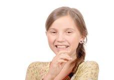 Portret van jong die meisje op wit wordt geïsoleerd Stock Fotografie
