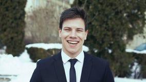 Portret van jong divers commercieel team Het glimlachen bij de camera 4k stock video