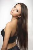 Portret van jong en gezond meisje op wit Stock Fotografie