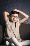Portret van jong kind met Rett-syndroom Stock Foto's