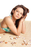Portret van jong mooi gelooid donkerbruin sexy w Stock Afbeelding