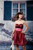 Portret van jong mooi meisje met viool Royalty-vrije Stock Afbeelding