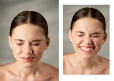 Portret van jong mooi meisje in Studio, met professionele make-up Schoonheid het schieten Emotioneel portret Gerimpelde Neus Stock Fotografie