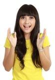 Portret van jong verrast meisje en het glimlachen Stock Foto