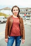 Portret van jonge 25-30 éénjarigenvrouw Royalty-vrije Stock Foto's