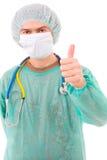 Portret van jonge artsen gaande duim omhoog Stock Foto