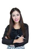 Portret van jonge bedrijfsvrouw met gekruiste wapens royalty-vrije stock foto
