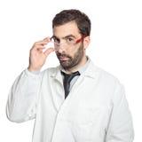Portret van jonge Europese geïsoleerde arts Stock Foto