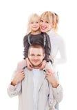 Portret van jonge gelukkige familie Stock Afbeeldingen