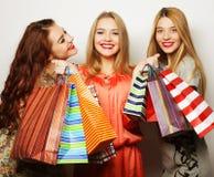 Portret van jonge gelukkige glimlachende vrouwen met het winkelen zakken stock afbeelding