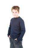 Portret van jonge glimlachende bevindende jongen Stock Foto