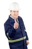 Portret van jonge glimlachende ingenieur met omhoog duimen royalty-vrije stock fotografie