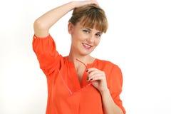 Portret van Jonge Glimlachende Mooie Vrouw. Stock Afbeeldingen