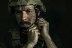 Portret van jonge mannelijke militair royalty-vrije stock afbeelding