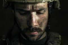 Portret van jonge mannelijke militair stock foto's