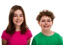 Portret van jonge meisje en jongen Stock Foto