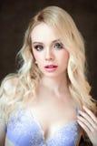 Portret van jonge mooie blonde sexy vrouw die een bustehouder dragen Sluit omhoog retoucheerd portret Royalty-vrije Stock Foto