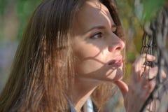 Portret van jonge mooie brunette Royalty-vrije Stock Afbeeldingen