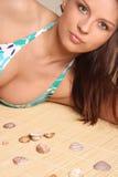 Portret van jonge mooie gelooide sexy brunette   Stock Afbeelding