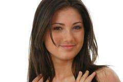 Portret van jonge, mooie, het charmeren brunette Stock Fotografie