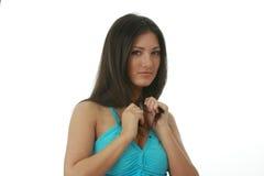 Portret van jonge, mooie, het charmeren brunette Stock Foto's